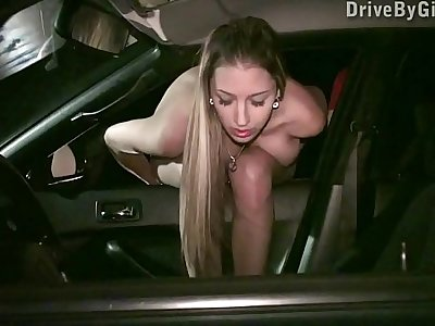 Pussy through a car window for anyone to fuck in a public sex dogging gang bang