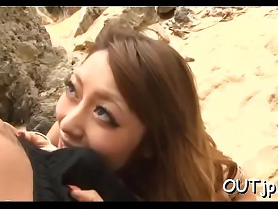 Gorgeous eastern Ayu Sakurai riding chili dog in front of camera